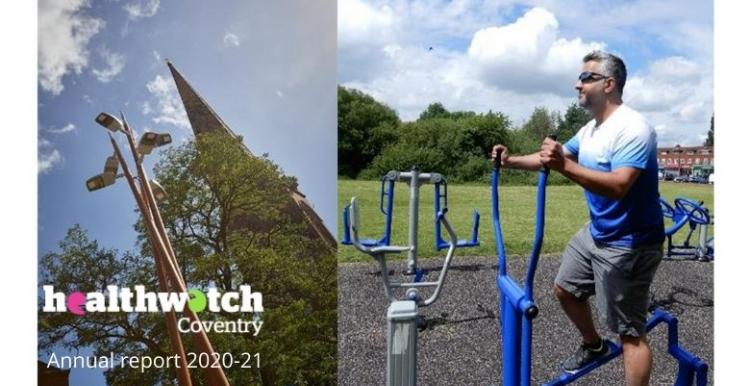 Picture of man on outdoor cross trainer in park and tree and lamp post in Coventry BullYard