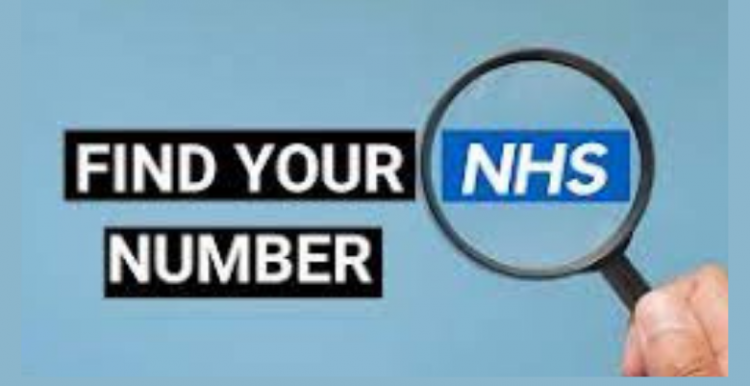 Picture of hand holder a magnifying glass over the teXt Find your NHS number