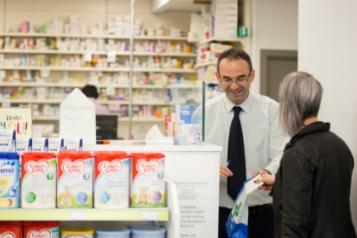 Woman visiting pharmacy